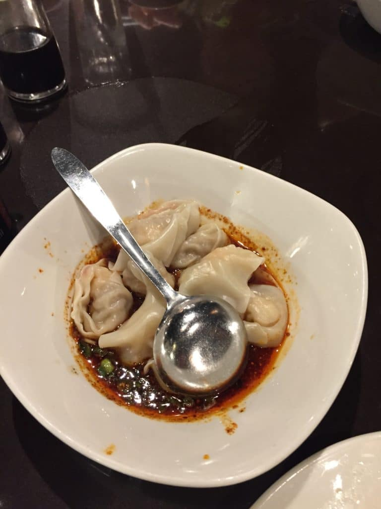 Shrimp & Pork Wontons with Spicy Sauce