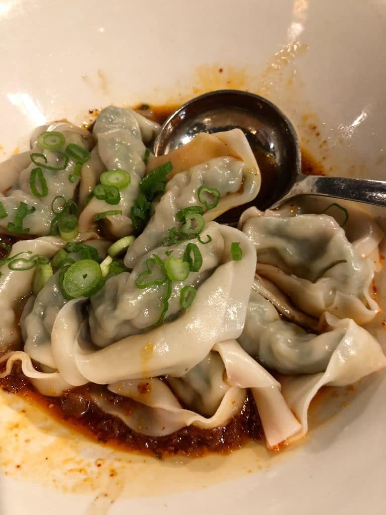 Vegetable & Pork Wontons with Spicy Sauce