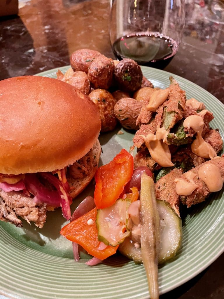 Pulled Pork, Fried Okra, Potatoes & Ferments