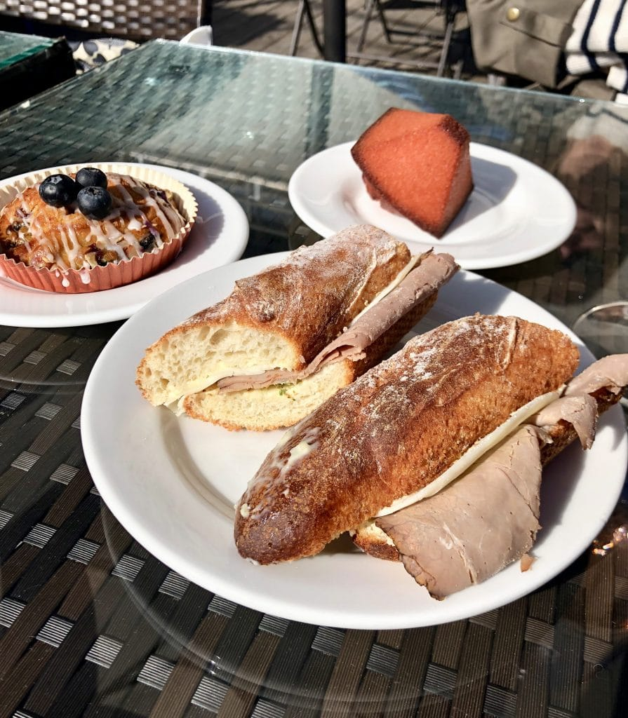 Roast Beef and Cheese Baguette, Financier and Coffee Cake