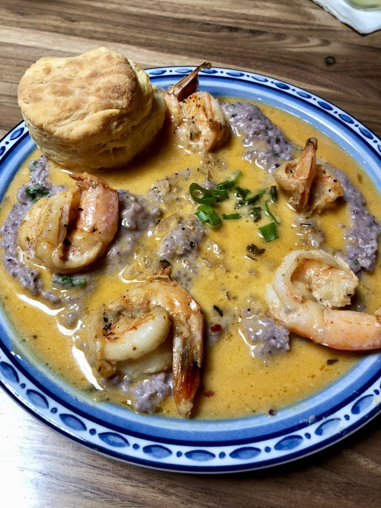 Shrimp and Blue Corn Grits
