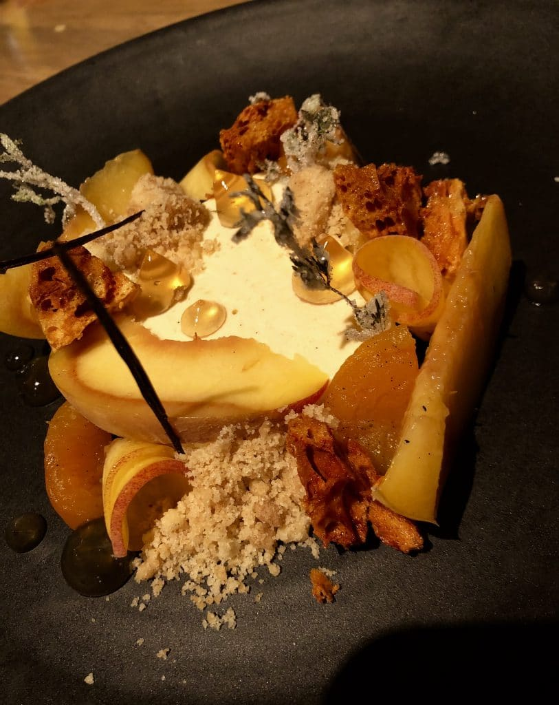 Peach Parfait with Fried Honeycomb
