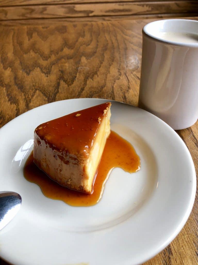 Flan with Café con Leche