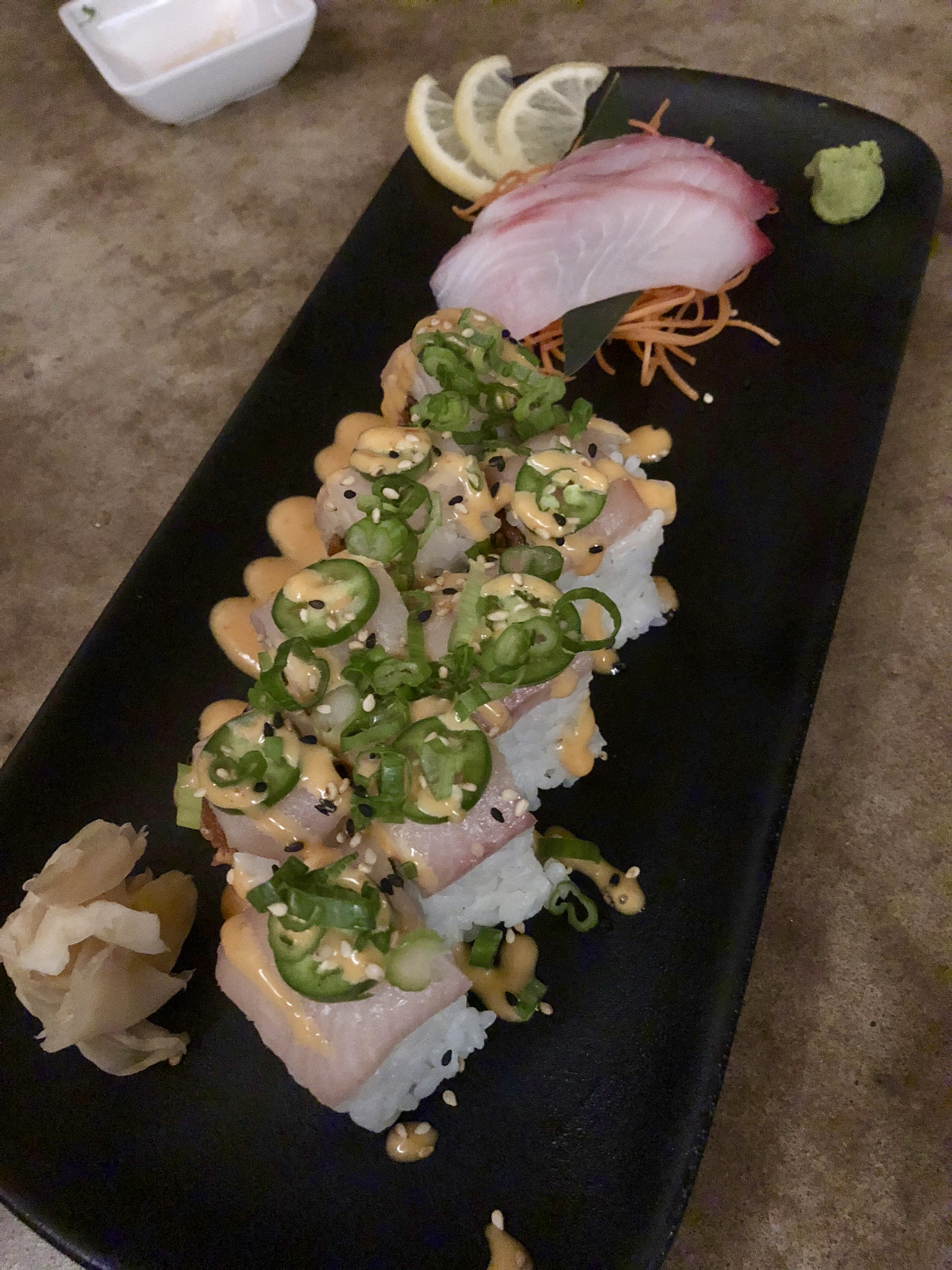 Vulcan Roll with Snapper Sashimi
