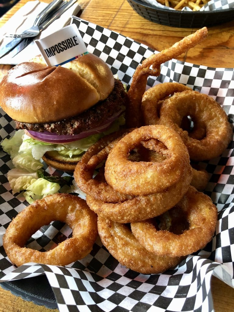 Impossible Burger with Onion Rings