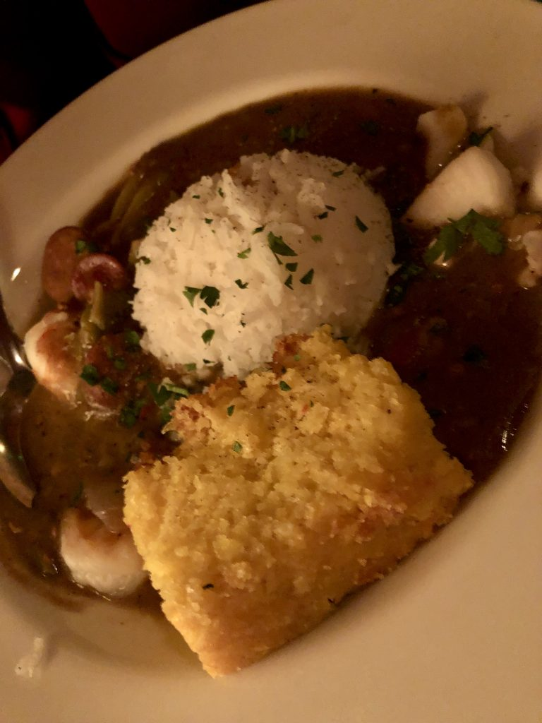 Seafood Gumbo with Cornbread