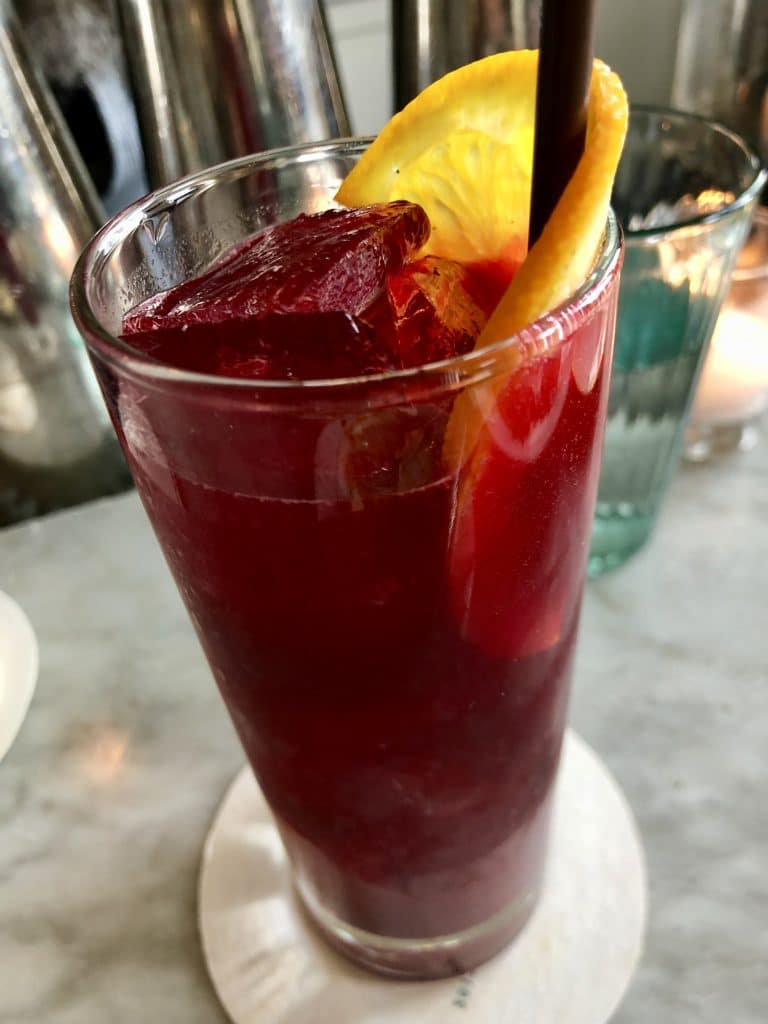 Rosa: Mezcal, Pomegranate, Beet Juice, Rose Water