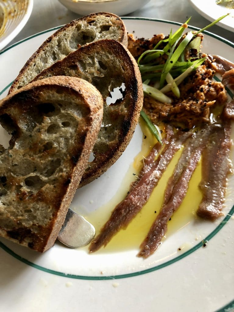 Anchovies with Harissa Butter