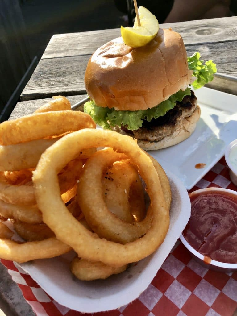 Lamb Burger with Onion Rings