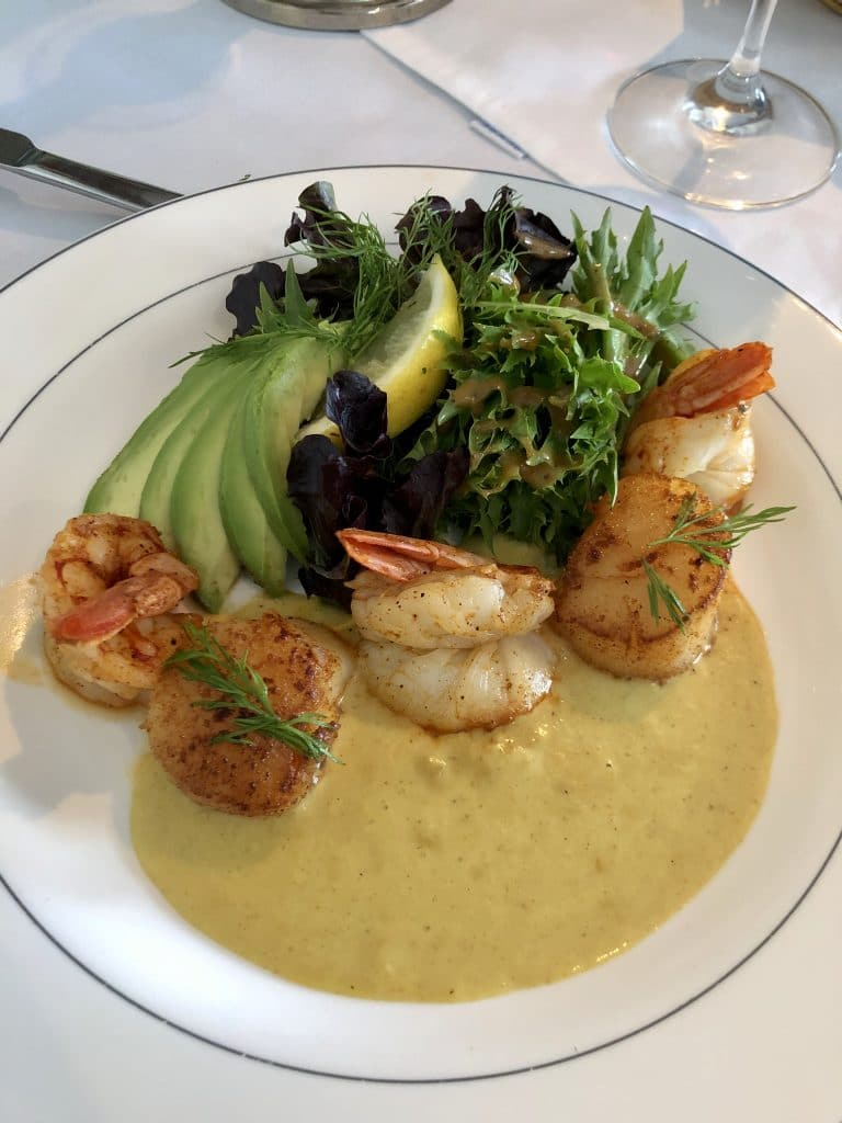 Warm Scallop and Shrimp Salad with Curried Mango Sauce
