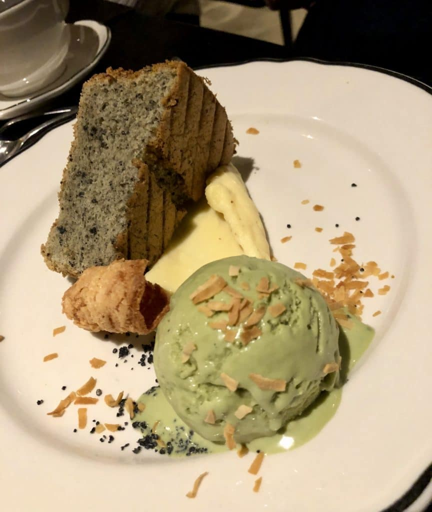 Black Sesame Chiffon Cake with Green Tea Ice Cream