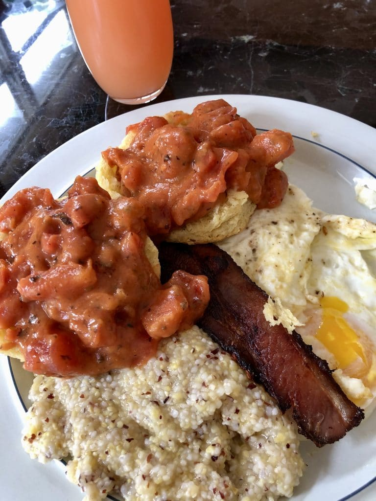 Bacon, Eggs, Grits, Tomato Gravy