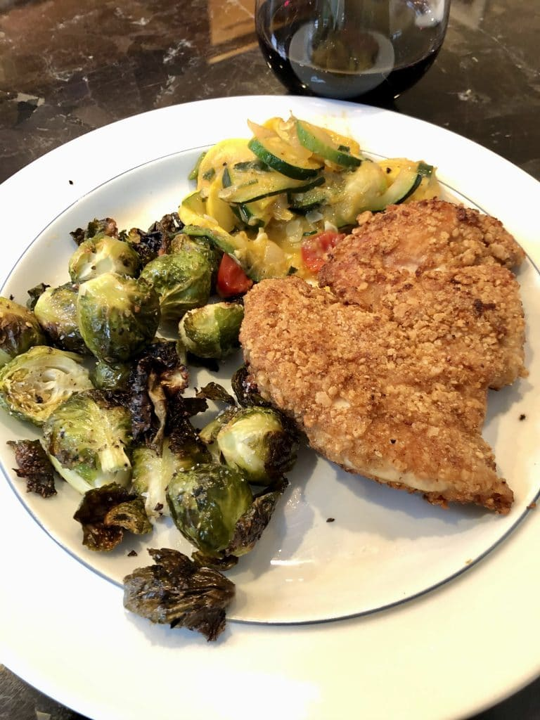 Fried Chicken, Brussels and Yellow Squash Medley