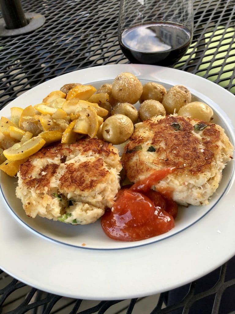 Dungeness Crab Cakes, Fried Zucchini and Potatoes
