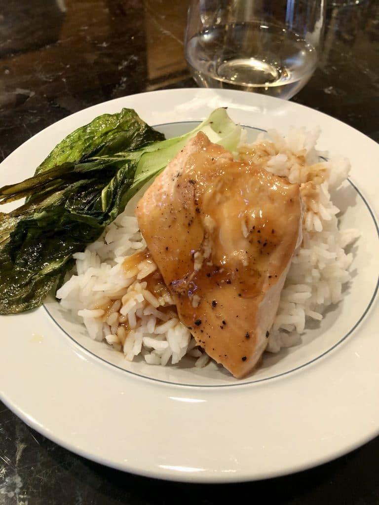 Teriyaki Salmon with Fried Bok Choy