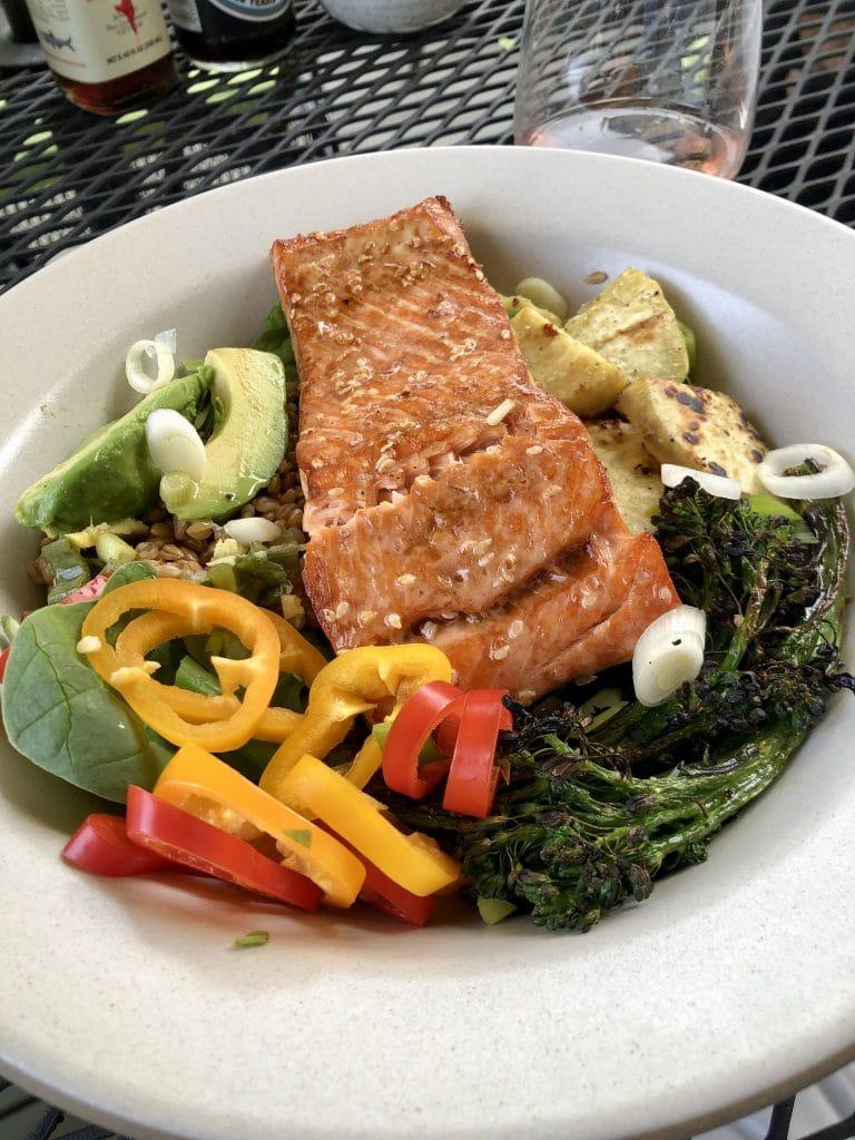 Salmon Veggie Bowl with Farro