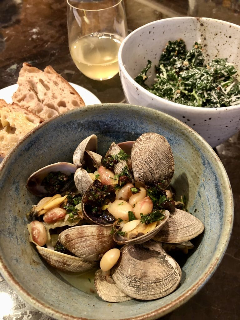 The Dinner: Clam Stew, Kale Salad, Sourdough and Wine