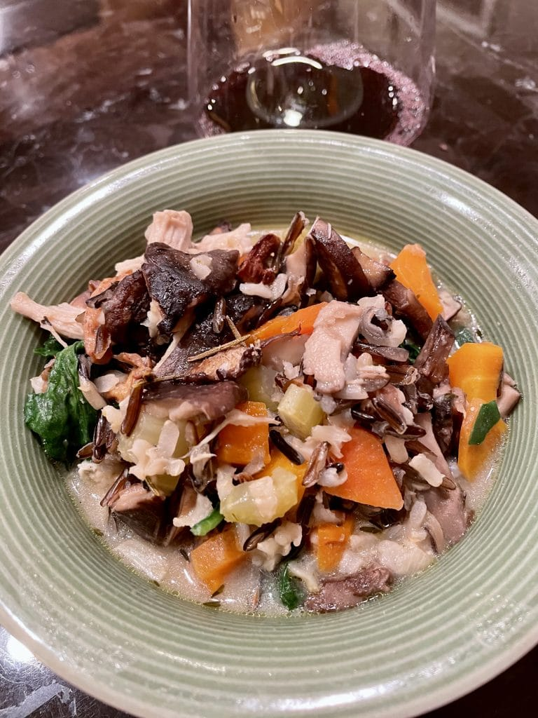 Wild Rice Chicken Soup with Roasted Mushrooms