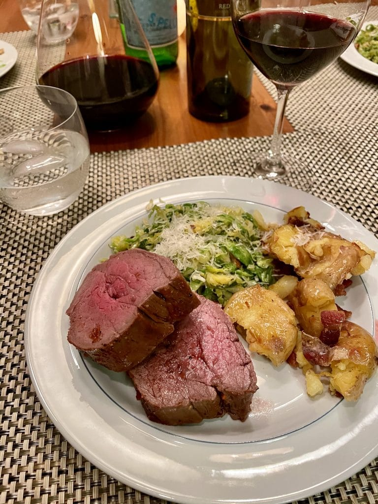 Beef Tenderloin, Brussel Sprouts and Smashed Potatoes