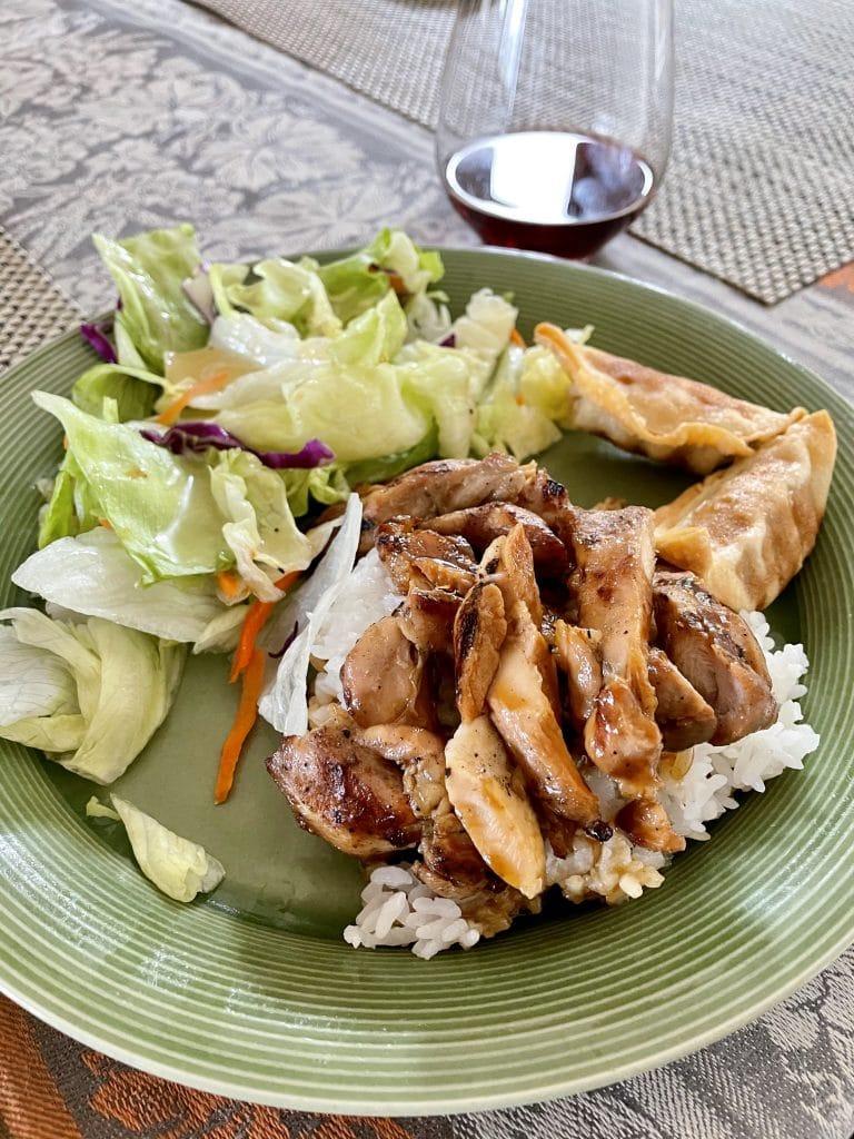 Chicken Teriyaki, Salad and Pork Gyoza