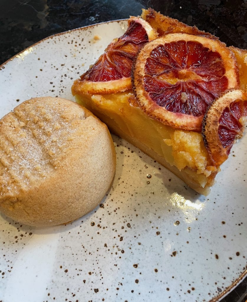Lemon Tart with Blood Orange and a Peanut Butter Cookie